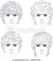 male curly hairstyles. stylized