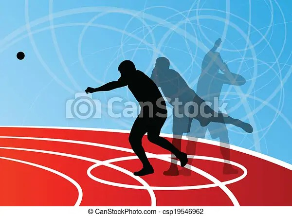 Male sport athletics. ball throwing silhouettes collection. abstract illustration. background vector for poster.