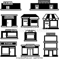 Mall Building Clipart Black And White