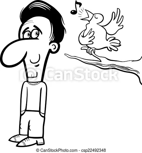 Man and bird cartoon coloring book. Black and white