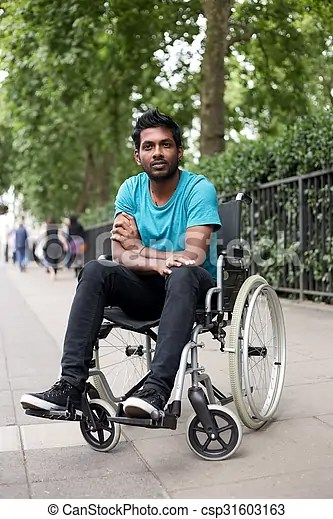 wheelchair man target high chairs in a young disabled indian sitting csp31603163