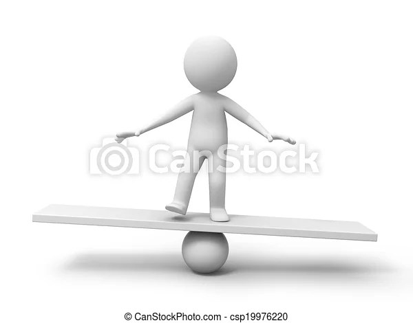 Man with balance board 3d man person human in