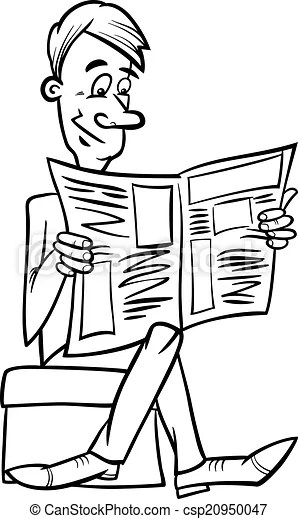 Man with newspaper coloring page. Black and white cartoon