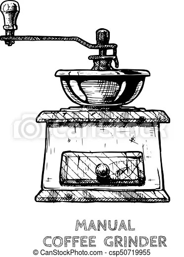 Vector illustration of old fashioned manual burr mill