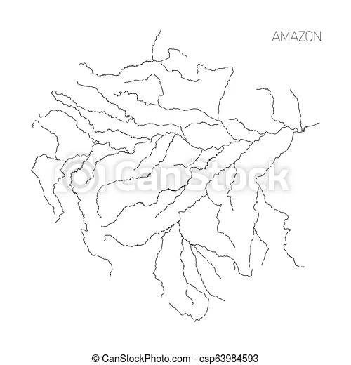 Map of amazon river drainage basin. simple thin outline