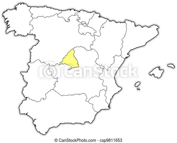 Map of spain, madrid highlighted. Political map of spain