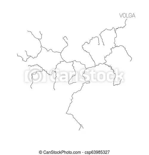 Map of volga river drainage basin. simple thin outline
