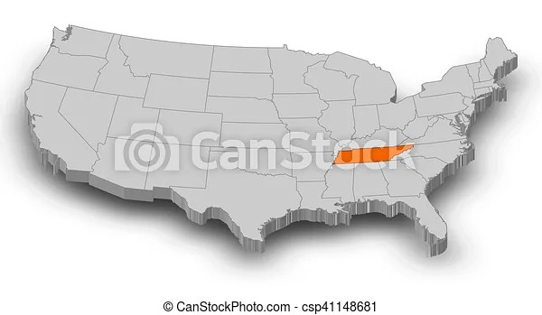Tennessee was the 16th state in the usa; Map United States Tennessee 3d Illustration Map Of United States As A Gray Piece Tennessee Is Highlighted In Orange Canstock