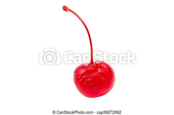 Maraschino cherry on a white background.