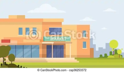 mall shopping building exterior market vector icon illustration clip clipart drawing flat drawings line