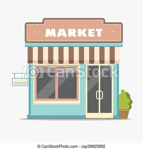 Market, street shop, small store front. Market, street shop building facade, small store front, shopping design detailed