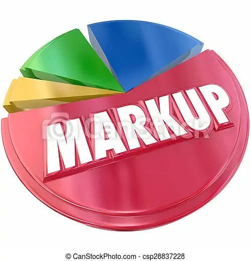 Markup pie chart cost price increase profit margin percent amount. Markup pie chart of price or cost increase as a percent or