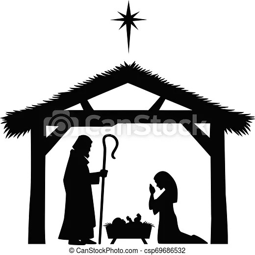 Mary Joseph And Baby Jesus Silhouette A Cartoon Illustration Of A Mother Mary Joseph And Baby Jesus