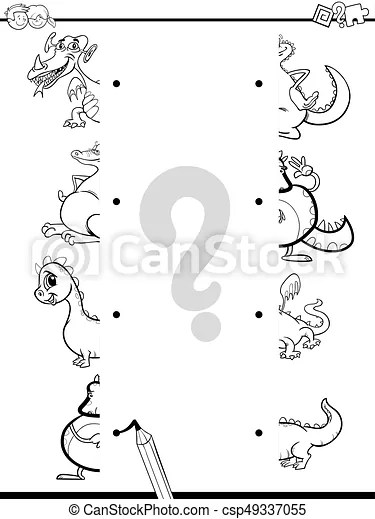Match dragons halves coloring page. Black and white