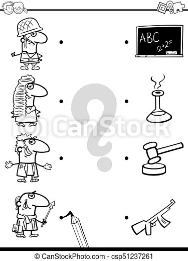 Match professions educational coloring book. Black and