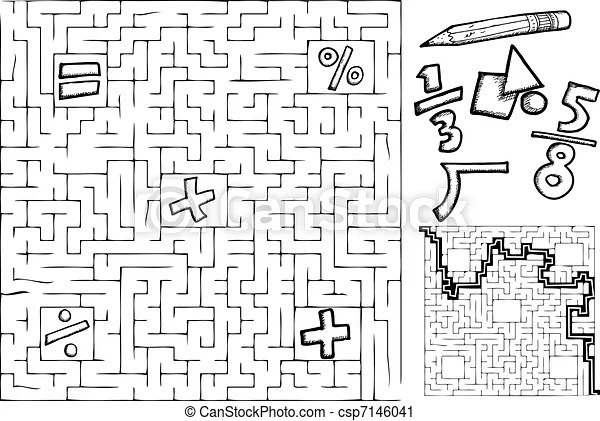 Math maze. Coloring page math maze with interchangeable