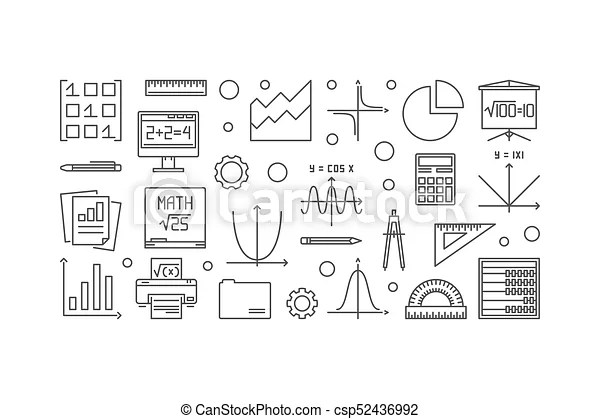 Math vector outline banner. vector linear education and