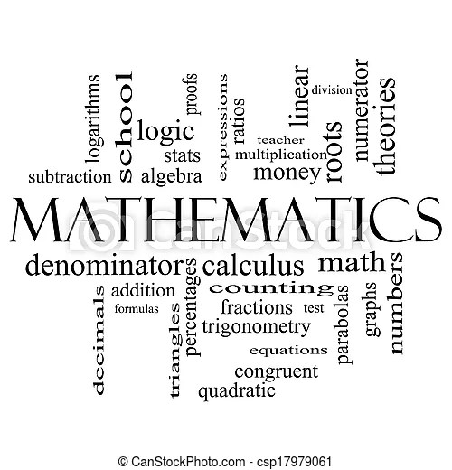 Mathematics word cloud concept in black and white with