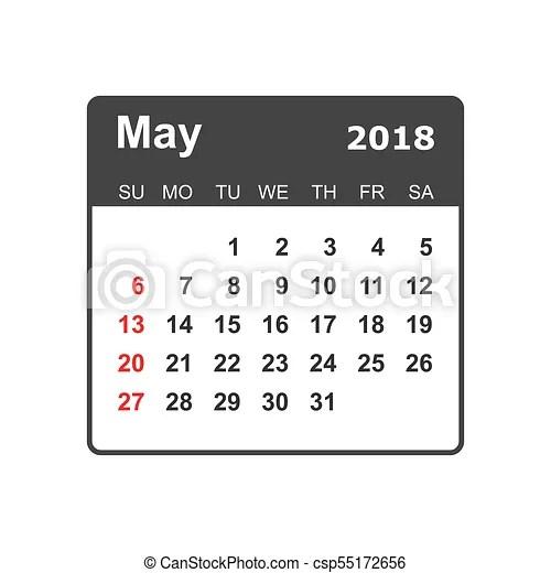 May 2018 calendar. calendar planner design template. week