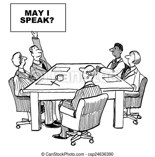 May i speak. Cartoon of introverted businessman raising