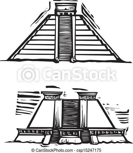 Woodcut style image of the mayan pyramids at el tajin and