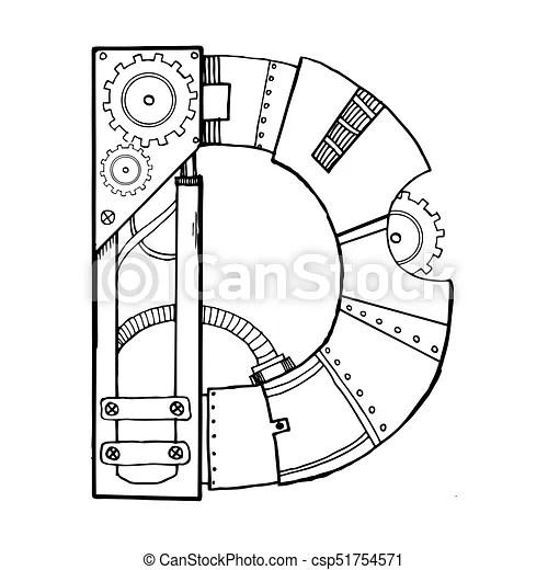 Mechanical letter d engraving vector illustration. font