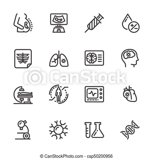 Medical diagnostics. health check up. vector line icons.