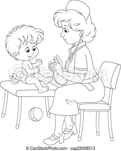 Medical examination. Pediatrician examines a little child