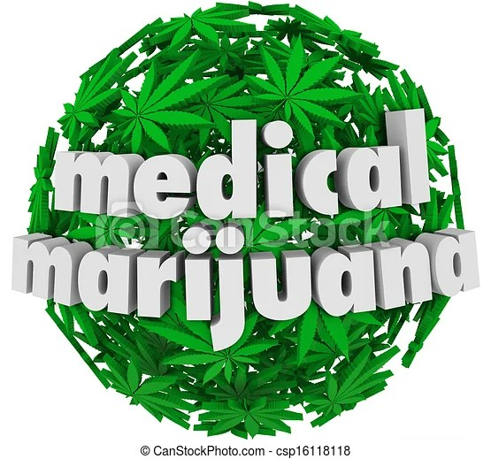 Medical marijuana words leaves legal pharmacy. The words medical marijuana on a sphere of green pot leaves to advertise a