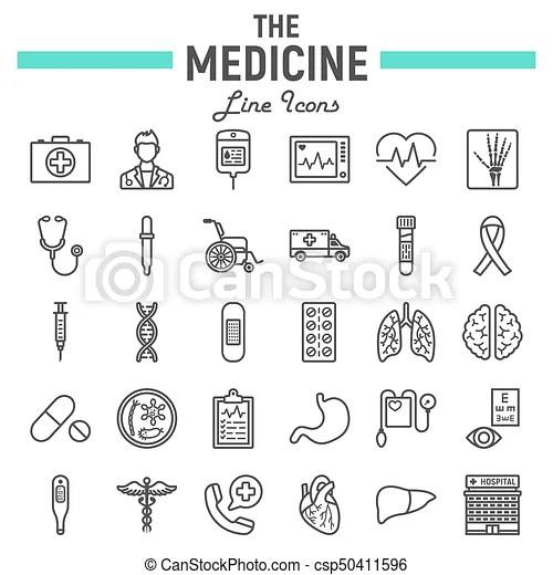 Medicine line icon set, medical symbols collection