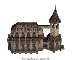 bell church medieval tower drawing isolated background line