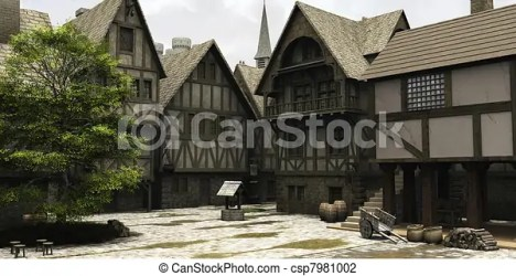 medieval fantasy town marketplace centre mar church clip illustration castle royalty towers behind clipart 3d spire market drawings digitally european