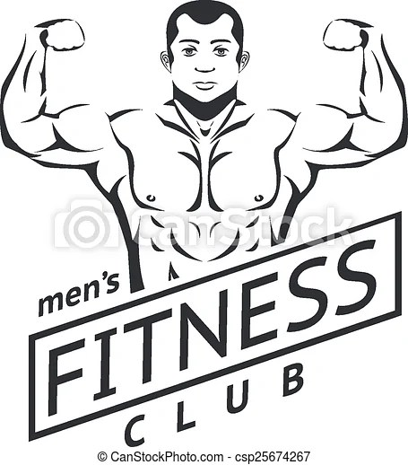 Mens fitness logo for sport club. muscles and beautiful