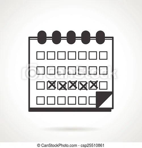 Menses calendar black vector icon. Black flat vector icon