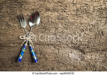 Menu rustic background Menu background vintage set cutlery on rustic wood background with empty space for text CanStock