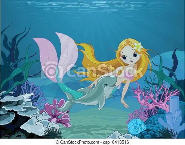 Cute Dolphin Drawing Wallpaper Mermaid And Dolphin Background Cute Mermaid Swimming With
