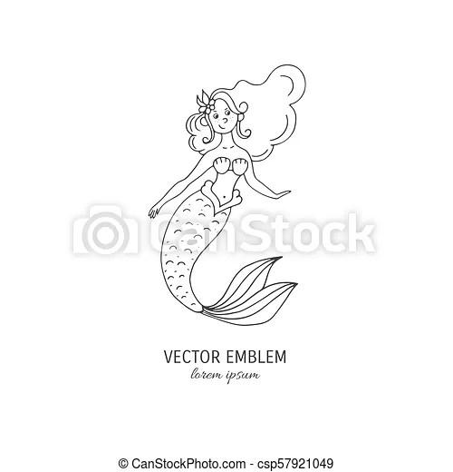 mermaid vector outline