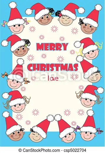 Merry Christmas Christmas Card With Ethnic Mixed Kids