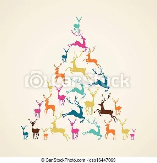 merry christmas reindeer pine tree