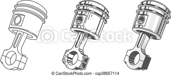 Metallic gear piston car engine part set of vector