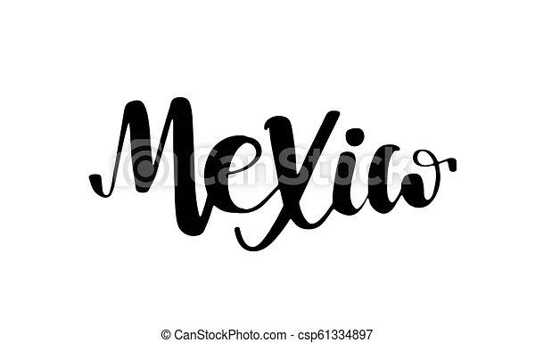 Mexico lettering text phrase background with flag. Mexico