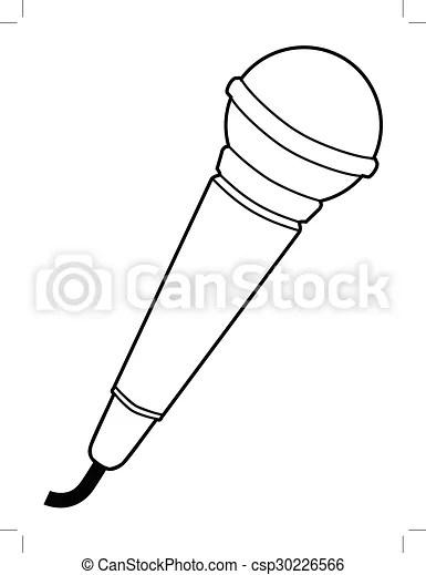 Outline illustration of microphone, audio equipment.