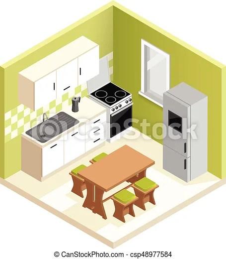 kitchen miniature wooden set isometric room interior design apartment vector illustration
