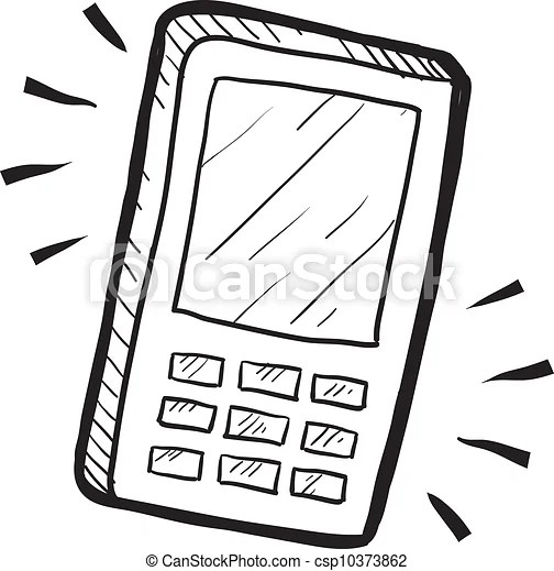Mobile phone sketch. Doodle style mobile phone or