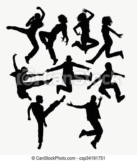 Modern dance silhouettes. Modern dance. man and women