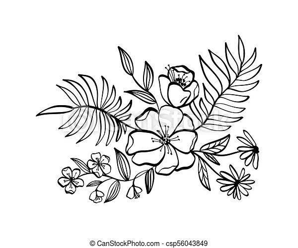 modern flowers drawing and