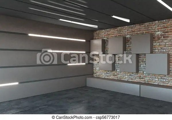 Modern Garage Interior Modern Metal Garage Interior With Illuminated Walls 3d Rendering