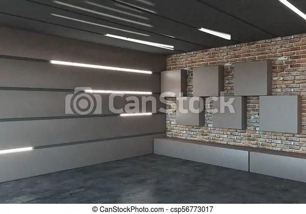 Modern Garage Interior Modern Metal Garage Interior With Illuminated Walls 3d Rendering