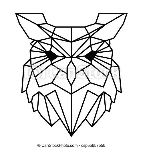 Modern geometry owl design tattoo vector image.