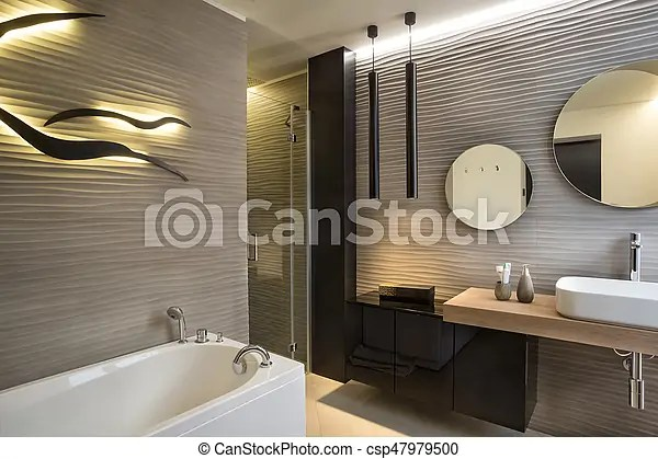 Modern style washroom with 3d tiles and wall lightning, neutral colors.